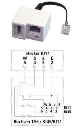 Adapter UAE - RJ11-Stecker auf TAE-Buchse U / RJ45/ RJ11 8(6 Preisvergleich