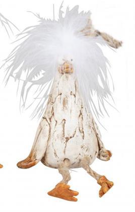Deko-Vogel Happy Bird mit Kunst-Federn Tischdeko Osterdeko Frühling 10cm