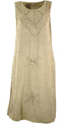 Besticktes Boho Sommerkleid, Indisches Hippie Kleid, Beige - Design 20, Damen, Creme-weiß, Preisvergleich