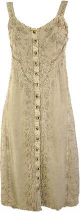 Besticktes Boho Sommerkleid, Midikleid, Indisches Hippie Kleid in 3/4 Länge, Beige - Desig Preisvergleich