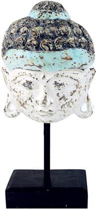 Buddha Maske auf Holzständer, Weiß, 37*17*10 cm, Buddhastatuen Preisvergleich