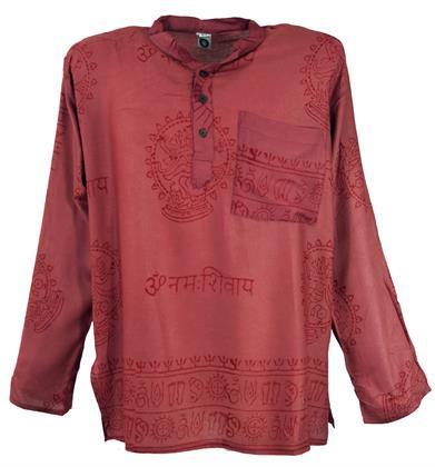 Hare Krishna Mantra Shirt, Goa Hippie Hemd - Rostrot, Herren, Viskose, Größe: M Preisvergleich