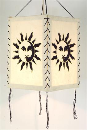 Lokta Papier Hänge-Lampenschirm, Deckenleuchte aus Handgeschöpftem Papier - Sonne Weiß, Lo Preisvergleich