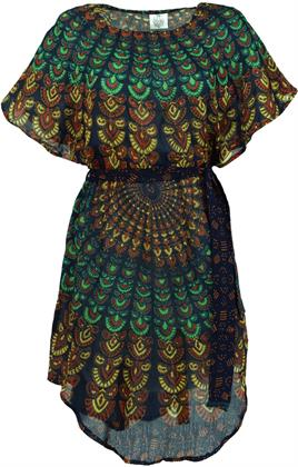 Mandala-Tunika, Minikleid mit Gürtel - Blau, Damen, Viskose, Größe: L/XL Preisvergleich
