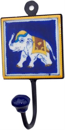 Wandhaken, Garderobenhaken mit Handgefertigter Fliese (8*8 cm) - Modell 12, Blau, Wandhake Preisvergleich