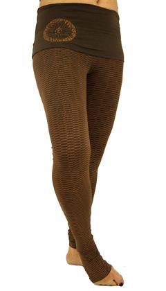 Yoga-Hose mit Breitem Bund, Yoga Leggings Bio Baumwolle Yogi - Cappuccino, Damen, Braun, B Preisvergleich
