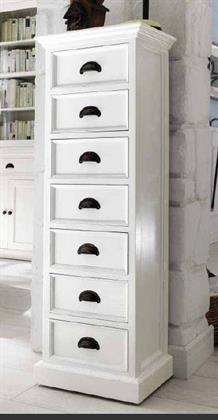 Schmale Kommode Schub - Regal mit 7 Schubladen Landhausmoebel weiß Novasolo Halifax Preisvergleich