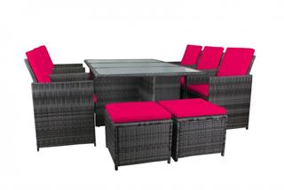 Polyrattan Sitzgarnitur 18529 mit extra großem Tisch, 4 Hocker, 6 Stühle Polyrattan grau B Preisvergleich
