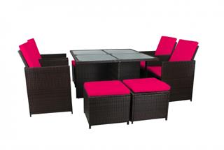 Polyrattan Sitzgarnitur 18534 mit Tisch, 4 Hocker, 4 Stühle Polyrattan braun Bezug pink Preisvergleich