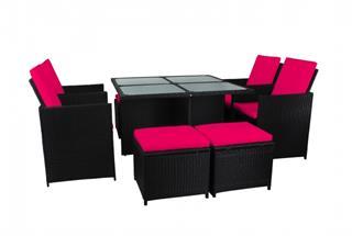 Polyrattan Sitzgarnitur 18536 mit Tisch, 4 Hocker, 4 Stühle Polyrattan schwarz Bezug pink Preisvergleich