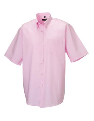 Herrenhemd Russell Collection Men´s Short Sleeve Oxford Shirt Classic Pink M (39/40 Preisvergleich