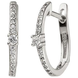 Creolen 925 Sterling Silber 30 Zirkonia Ohrringe Silbercreolen Silberohrringe Preisvergleich