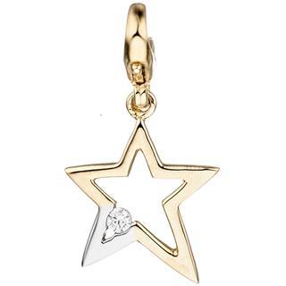 Einhänger Charm Stern 375 Gold Gelbgold bicolor 1 Zirkonia Sternanhänger Preisvergleich