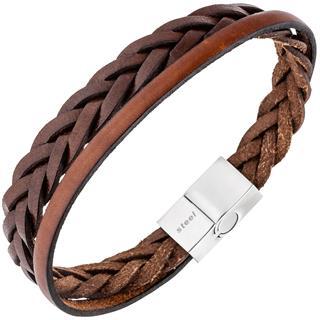 Herren Armband 2-reihig Leder braun geflochten mit Edelstahl 21 cm Herrenarmband Preisvergleich