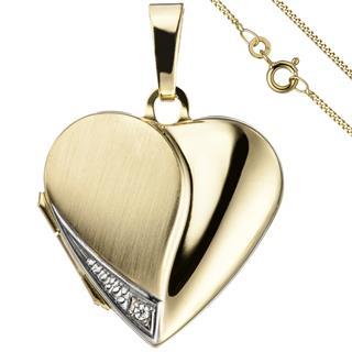 Medaillon Herz Anhänger zum Öffnen für Fotos 333 Gold 1 Zirkonia mit Kette 50 cm Preisvergleich